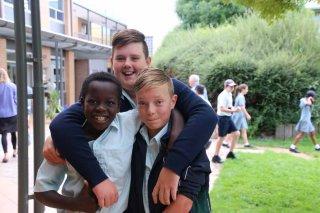 Middle School friends enjoying being back together