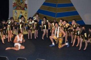 Joseph final show - Pharaoh is portrayed as an Elvis Presley-style figure