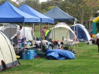 Soul Survivor - setting up campsite